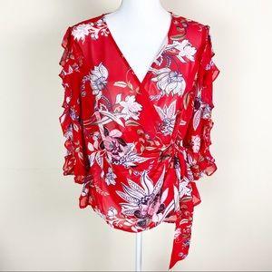 soho New York & Company Wrap Tie Floral Blouse